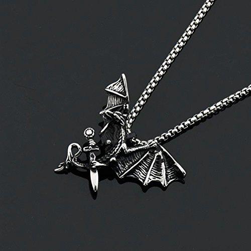 Generic Japan_and_South_ Korea _Bao_Jian_ original fashion man boy men steel _dragon_ necklace pendant ornaments women girl long _shirt_ sweater chain by Generic