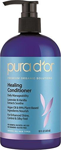 PURA D OR Lavender & Vanilla Premium Organic Argan Oil Healing Conditioner, 16 Fluid Ounce