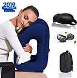 Povinmos Inflatable Neck Travel Pillow, Comfortable Portable Head Neck Rest Pillow with Free Eye Mask/Earplug for Airplanes, Cars, Buses, Trains, Napping, Camping - Blue