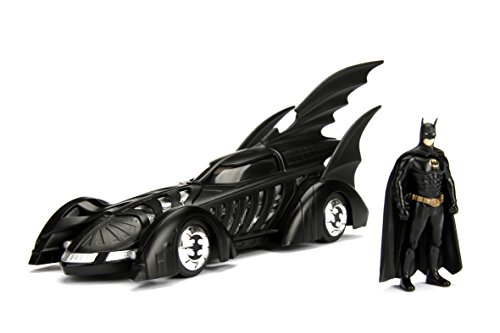 Jada Toys DC Comics 1995 Forever: Batmobile with Batman Metals Die-Cast Collectible Toy Vehicle with Figure (2 Piece), Matte Black, 1:24 Scale