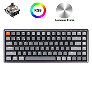 Keychron K2 Bluetooth Wireless Mechanical Keyboard with Gateron Brown Switch/RGB Backlit/USB C/Anti Ghosting/N-Key Rollover/Compact Design, 84 Key Tenkeyless Keyboard for Mac Windows(Aluminum Frame)