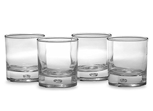 Home Essentials & Beyond Red Series Bubble Assorted Colored Bottoms Drinking Glasses, 10oz Set of 4
