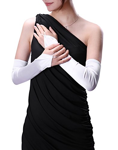 HDE Womens Long Fingerless Opera Gloves Satin Elbow Length Arm Warmer (White)