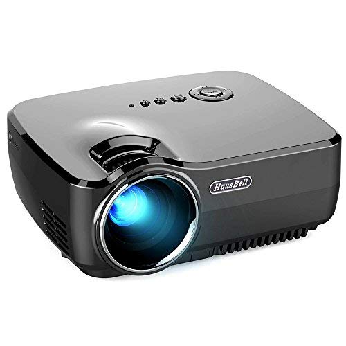 Hausbell Projector Mini Projector Portable Video LED Projector HD for Outdoor Indoor Movie/Home Cinema Theater/Game (Black) [並行輸入品] B07HRP9X5Q
