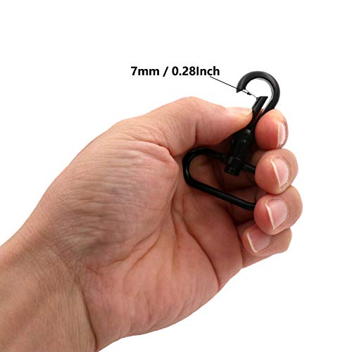 BIKICOCO 1-1/2\'\' Swivel Trigger Round Head Snap Hook Lobster Claw Clasp Spring Loaded Clip, Oval Ring Ended, Black - Pack of 4