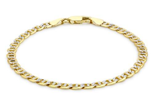 """9ct or 2couleurs Rambo texturé Bracelet 18cm/7"""""""