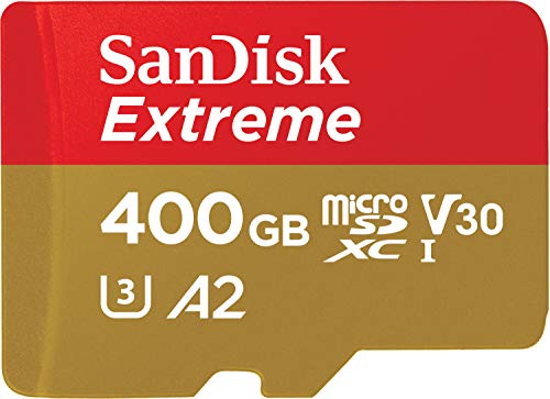 SanDisk 400GB Extreme microSDXC UHS-I Memory Card with Adapter - C10, U3, V30, 4K, A2, Micro SD - SDSQXA1-400G-GN6MA (Pro Sd Card Elite)