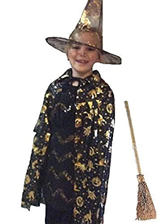 kids witch wizard halloween costume cape hat and broom stick - Halloween Costumes With A Cape