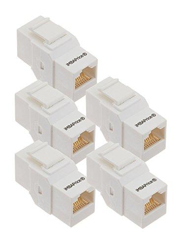 iMBAPrice RJ45 Female to Female UTP CAT.6 Keystone Coupler, White, 5 Pack (IMBA-C6KC-WT-5PK) by iMBAPrice