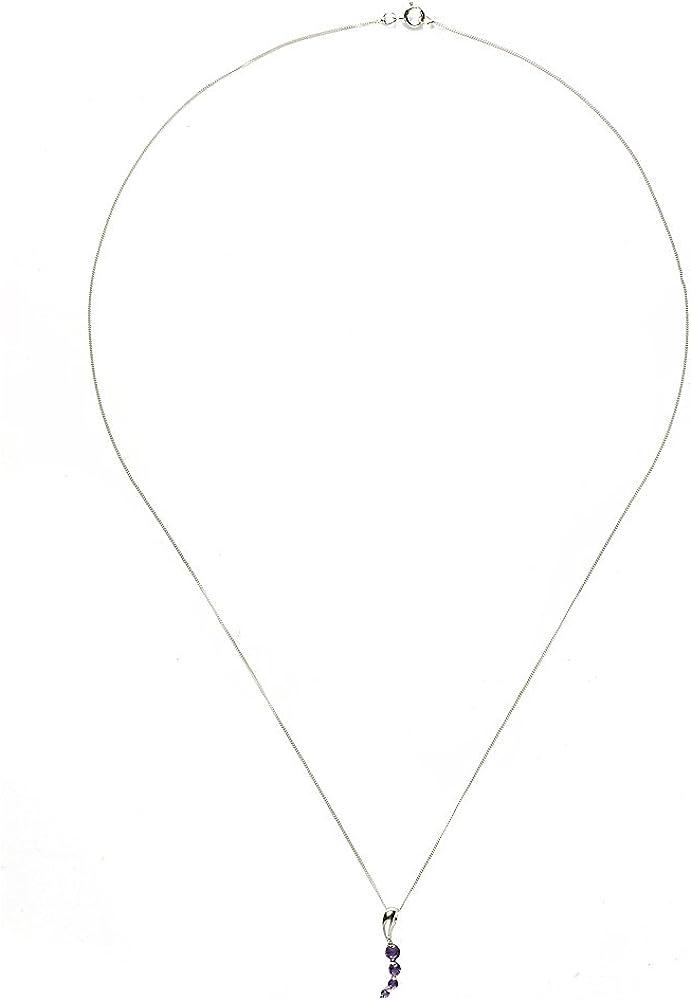 Or Blanc 375//1000 135P1079-4 Femme Am/éthyste 1.272 Gr Parure collier et boucles doreilles 9 Cts