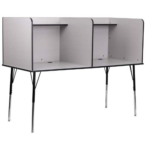 (Flash Furniture Double Wide Study Carrel with Adjustable Legs and Top Shelf in Nebula Grey Finish)