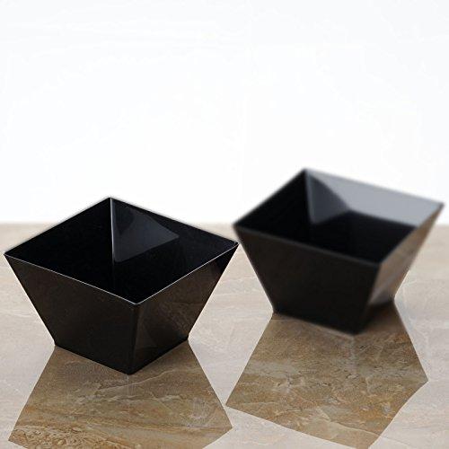 Efavormart 60 Pcs - Black Innovative Square 14oz Disposable Plastic Bowl Tableware for Wedding Banquet Event Party Decoration