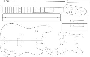 Electric guitar routing template p bass for Bass guitar body templates