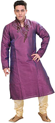Exotic India Royal-Purple Wedding Kurta Pajama Set with Size 40 by Exotic India