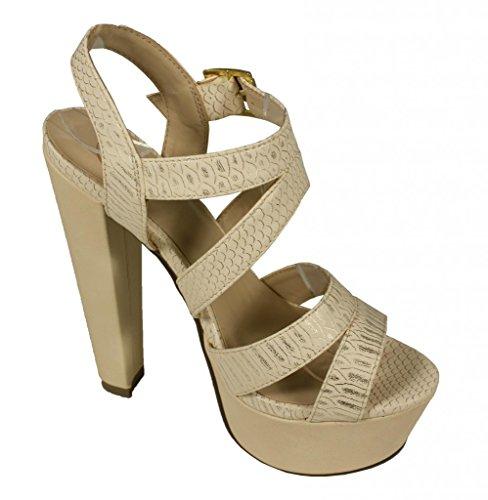 Delicious Womens Genic Open Toe Strappy Platform Ankle High Heel Pump Beige Metallic Snake Leatherette vIWtn22