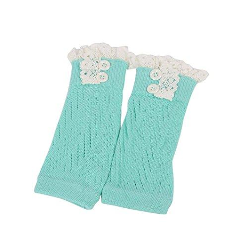 Oksale Baby Girls Boys Lace Crochet Knitted Boot Cuffs Leg Warmers Socks (Blue)