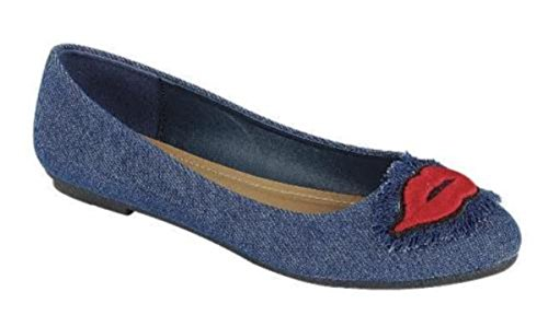 Dev Womens New Classic Denim Abbigliamento Casual Da Sera Ballerine Ballerine Flat Shoe Blue Denim-a