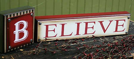 christmas believe wooden sign for table top mantel or shelf
