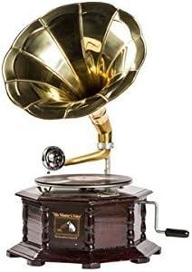 Grammofono con Tromba  MASTERS VOICE in legno e ottone FUNZIONANTE QUADRATO