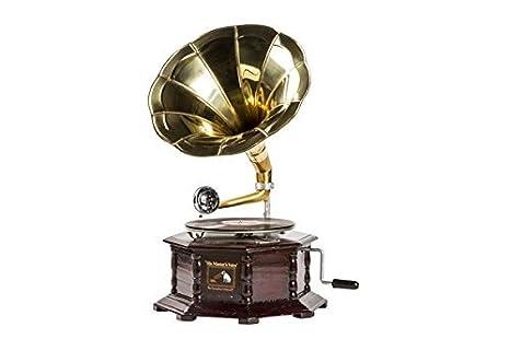 Grammofono con tromba HIS MASTER/'S VOICE in legno e ottone FUNZIONANTE QUADRATO