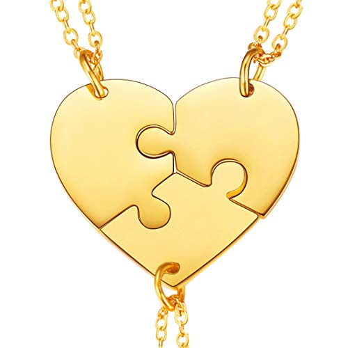 U7 BFF Necklace for 2/3/4 Stainless Steel Chain Personalized Family Love/Friendship Jewelry Set Free Engraving Heart Pendants (Set of 3 Gold ()