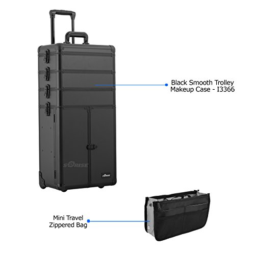 Sunrise Professional Makeup Artist Wheeled Trolley Organizer Case in Black Smooth - I3366 with PC05 Mini Travel Zippered Bag by SunRise