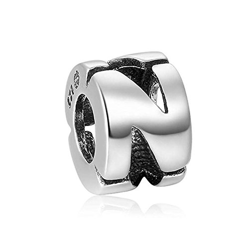 Soufeel New Style Letter N Charm 925 Sterling Silver Fit European Bracelets