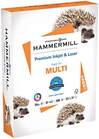 Hammermill Printer Paper, Premium Inkjet & Laser Paper 24 lb, 8.5 x 11 - 1 Ream (500 Sheets) - 97 Bright, Made in the US