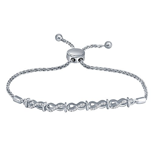 0.15 cttw (IJ I2 I3) Round White Diamond Adjustable Infinity Bolo Bracelet in Sterling Silver.