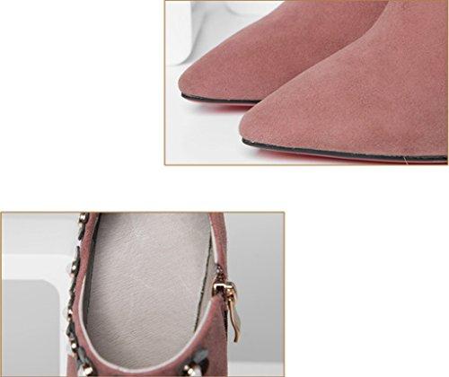 Pointu Rose Les et l'europe Chaussures Couleur Simples Taille Unis véritable LBDX 39 États Mode Talons Cuir Rose Hauts en EqUdxwxP5Y
