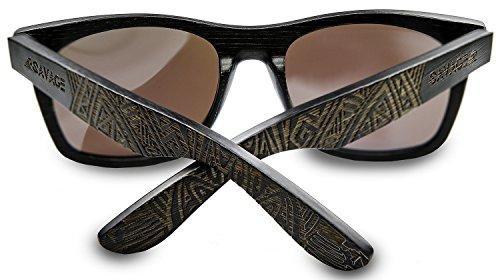 e81d0ddb33 SAVAGE original bamboo wayfarer polarized sunglasses - handmade! (Black  Engraved Frame