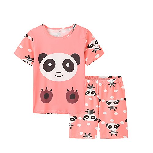 MyFav Big Girls Summer Shorts Pajama Cute Panda Sleepwear Lovely Child Loungwear Pink, (Kids Girls Pajamas Bottoms)
