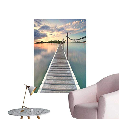 Ocean Wall Mural Wallpaper Stickers Pontoon Jetty Pier Deck Across The Water at Dramatic Sunset with Idyllic View Room Bedside Aqua Grey Peach W24 x H36 ()