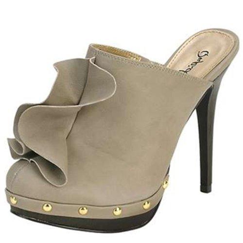 Qupid Ruffled High Heel Clog Sandals Qumiwa-45 Black or Grey (7.5, (Vogue High Heel Sandals)
