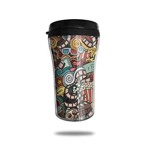 Xuforget Doodle Cinema Items Combined in an Abstract Style Spill Proof Coffee Travel Cup