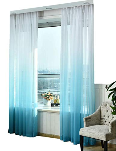 TIYANA Home Decor Novelty Fresh Sheer Curtains Drape Voile Panels Tulle Sheer Window Curtains Gauze Sheer for Bedroom Living Room Balcony Rod Pocket Top, Blue and White W40 x L84 inch, 1 Panel