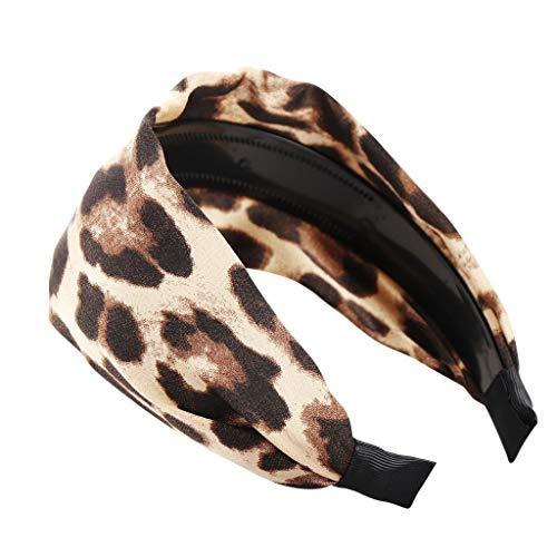 BUKEZH Women's Fashion Leopard Hairband Simple Printed Hair Head Hoop Colorful Headband (Yellow)