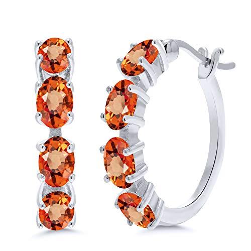 4.40 Ct Oval Orange Sapphire 925 Sterling Silver Earrings -