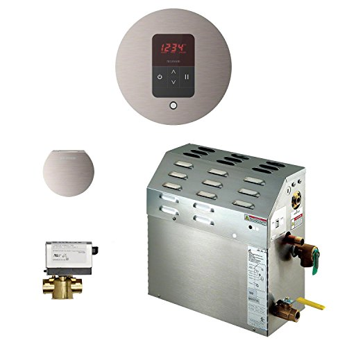 Mr Steam 225C1ATRDBN - eSeries 7.5kW Steam Bath Generator at 240V with iTempo Temperature Round Control Brushed Nickel with matching AromaSteam steam head. For generator models MS90E to MSSUPER6E.