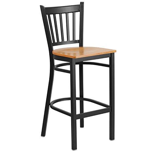 Flash Furniture HERCULES Series Black Vertical Back Metal Restaurant Barstool – Natural Wood Seat