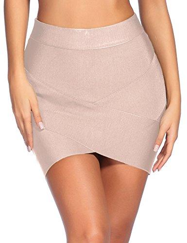 Sexy Legs Mini Skirts - Madam Uniq iFashion Women's Sexy Rayon Bandage Bodycon Party Mini Skirt (S, Beige)