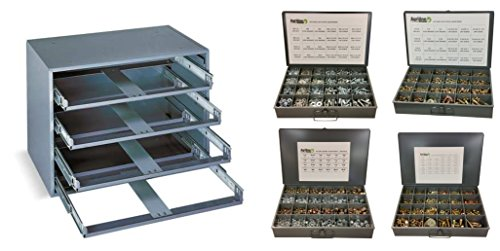 4650 Piece 4 Drawer Bolt Nut and Washer Assortment USS, SAE, Metric, and Nylon Locknut Coarse and Fine Thread Bin Kit by Agriline Supply