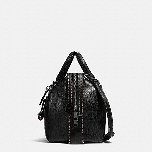 Leather with Embellished Nickel in Black COACH Pebbled Glovetanned Rogue 58118 Handle Antique Satchel 41xnwqEna