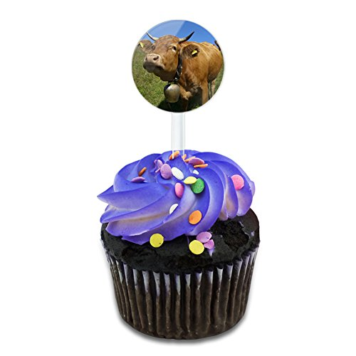 Cow Bell Please Cake Cupcake Toppers Picks Set -