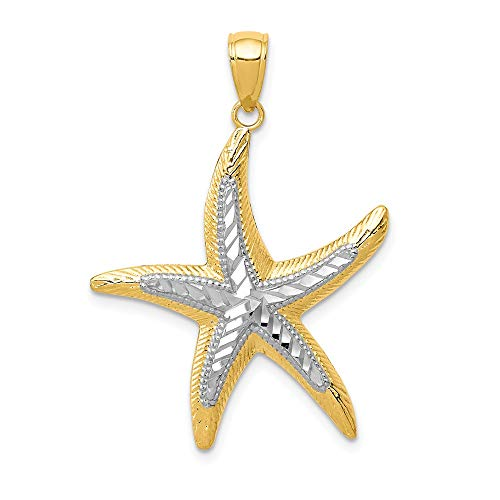Jewelry Stores Network 14K Yellow Gold Starfish Pendant with Rhodium Accents 34x25mm ()