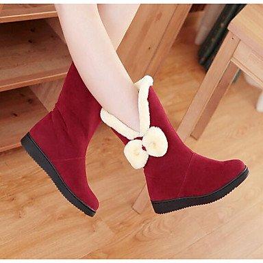 Mujer Gll Casual Plano Rojo Khaki Botas Confort Invierno Caqui amp;xuezi Nobuck Cuero UUWw08a5rv
