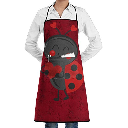 Ladybugs In Love Bib Apron With Convenient Pockets For Women And (Ladybug Apron)