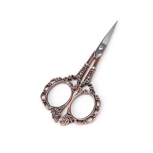 Hunulu 1PC Stainless Steel European Plum Blossom Vintage Floral Scissors Sewing Shears DIY Tools (red)
