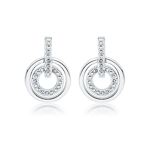 (MYJS Circle Rhodium Plated Classic Earrings with Clear Swarovski Crystals)