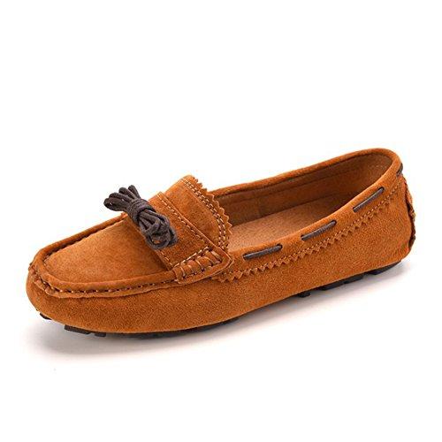 VASHOP Womens Kilty Suede Moccasin Flat Loafers Tie Bow Driving Walk Boat Shoes Kahaki aJhenFOISg